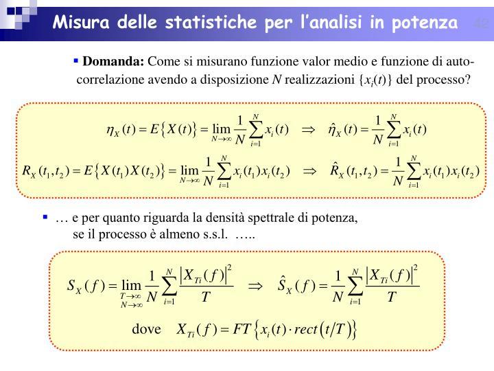 Misura delle statistiche per l'analisi in potenza