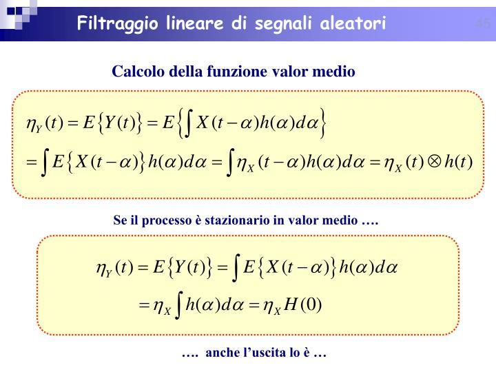 Filtraggio lineare di segnali aleatori