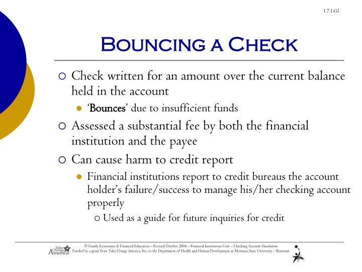 Bouncing a Check