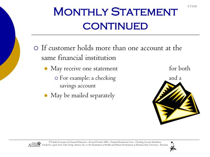 Monthly Statement continued