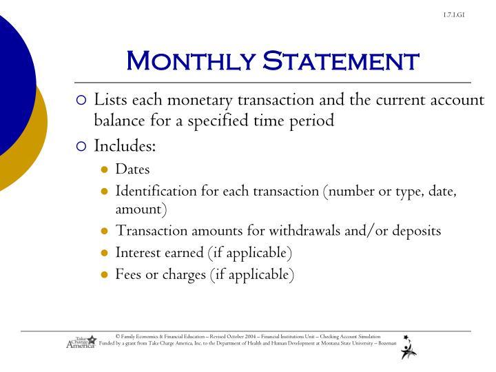 Monthly Statement