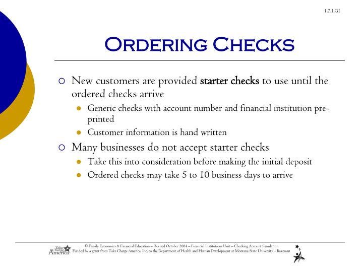 Ordering Checks