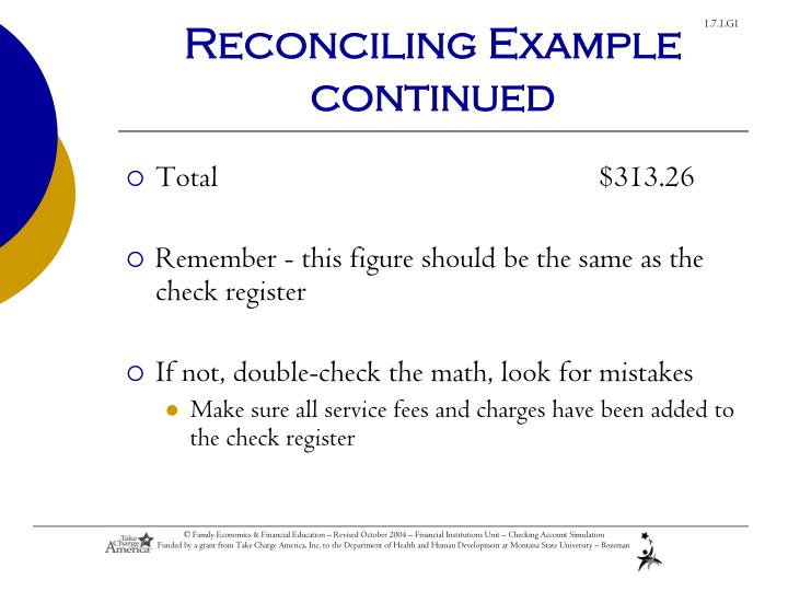 Reconciling Example continued