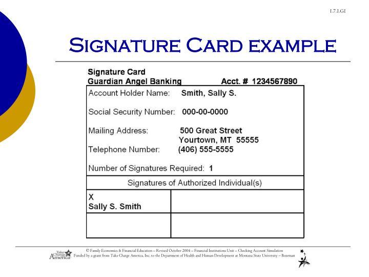 Signature Card example