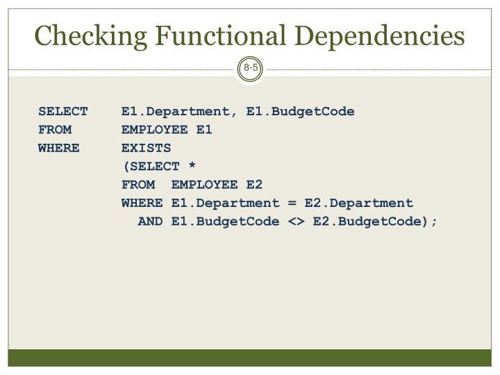 Checking Functional Dependencies