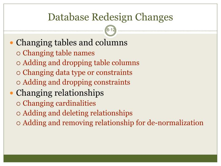 Database Redesign Changes