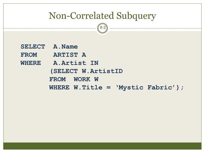 Non-Correlated Subquery