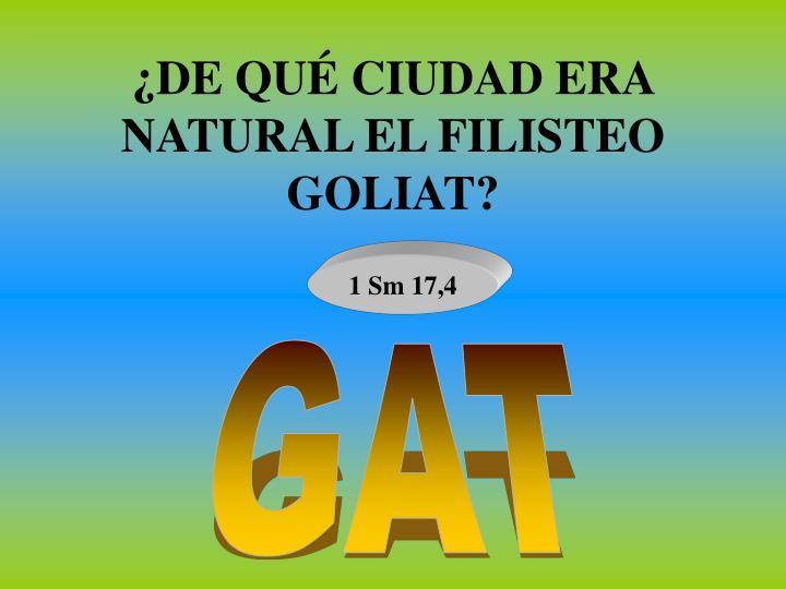 ¿DE QUÉ CIUDAD ERA NATURAL EL FILISTEO GOLIAT?
