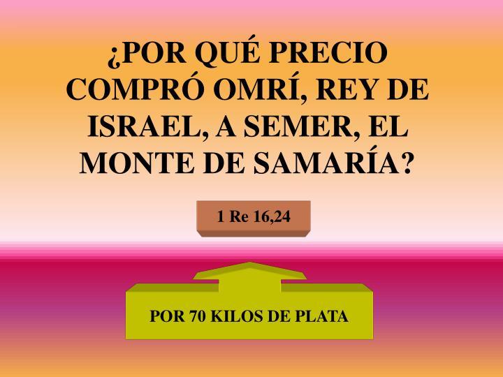 ¿POR QUÉ PRECIO COMPRÓ OMRÍ, REY DE ISRAEL, A SEMER, EL MONTE DE SAMARÍA?