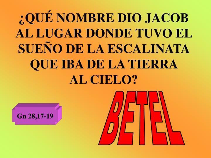 ¿QUÉ NOMBRE DIO JACOB AL LUGAR DONDE TUVO EL SUEÑO DE LA ESCALINATA QUE IBA DE LA TIERRA