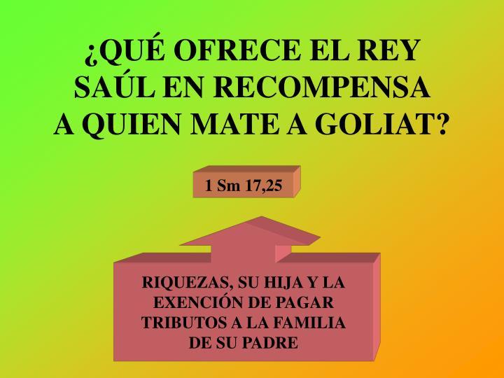 ¿QUÉ OFRECE EL REY SAÚL EN RECOMPENSA