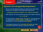 equation from dropped ball experiment