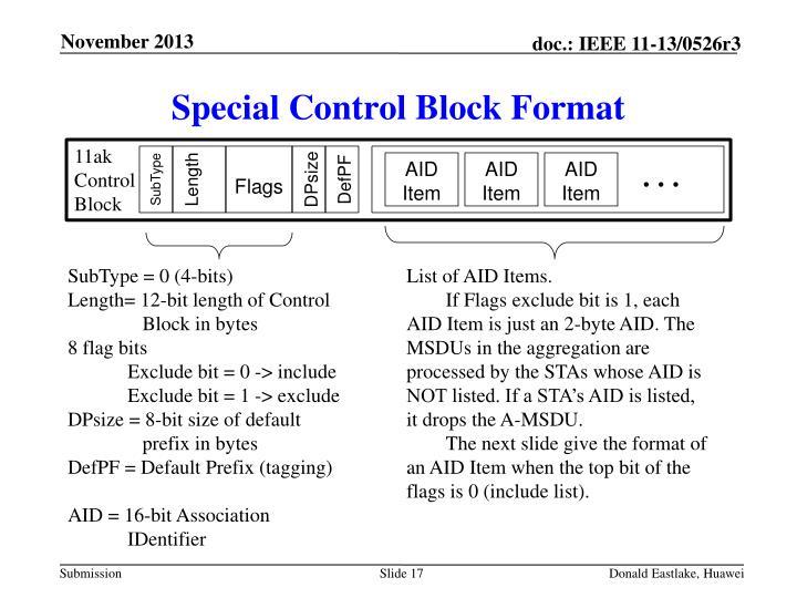 Special Control Block Format