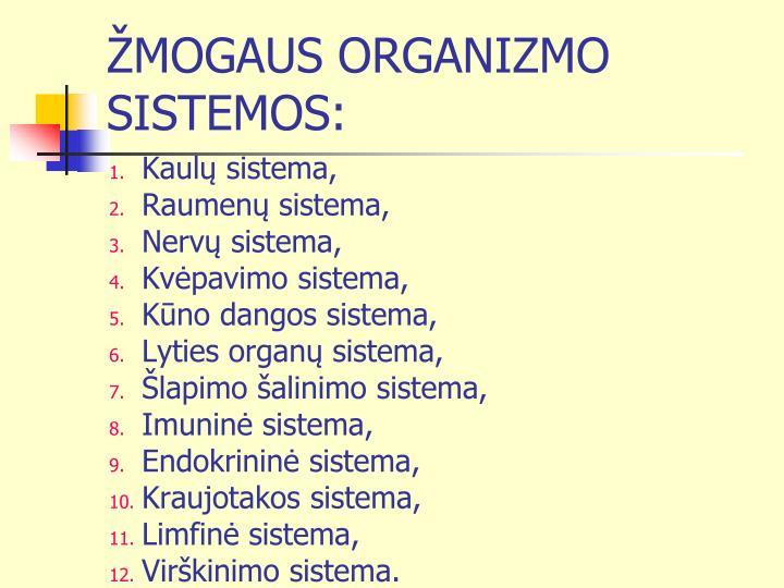 ŽMOGAUS ORGANIZMO SISTEMOS:
