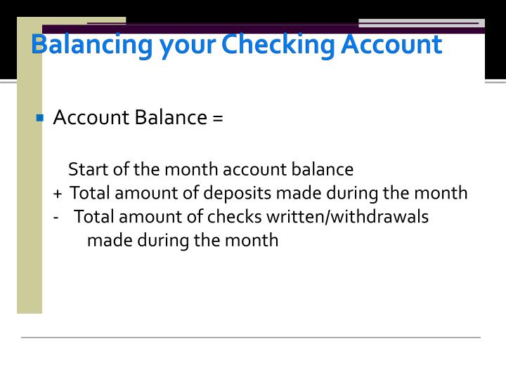 Balancing your Checking Account