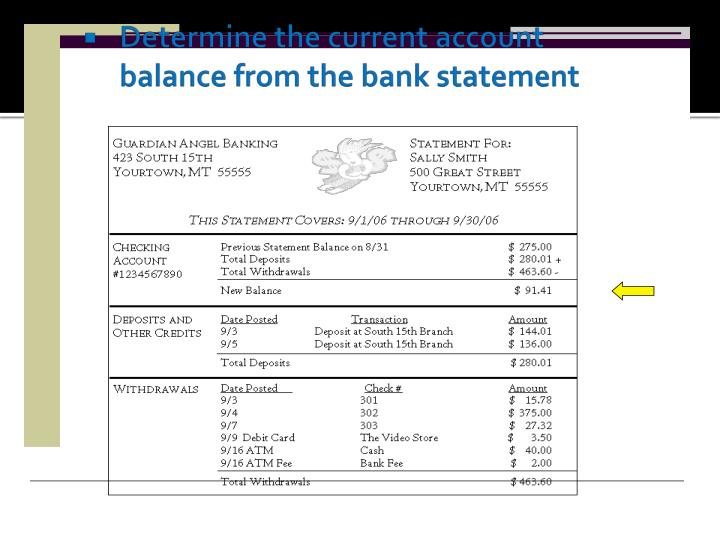 Determine the current account balance from the bank statement