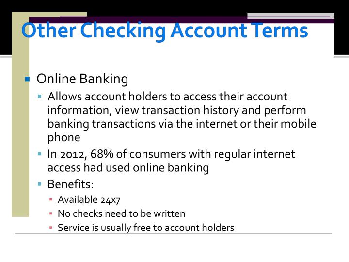 Other Checking Account Terms