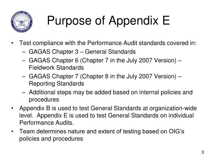Purpose of Appendix E