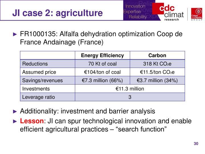 JI case 2: agriculture