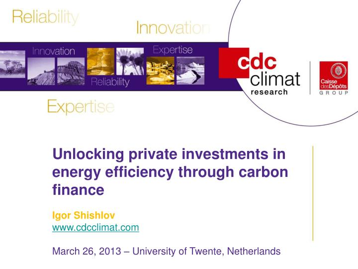 Unlocking private investments in energy efficiency through carbon