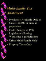 multi family tax abatement