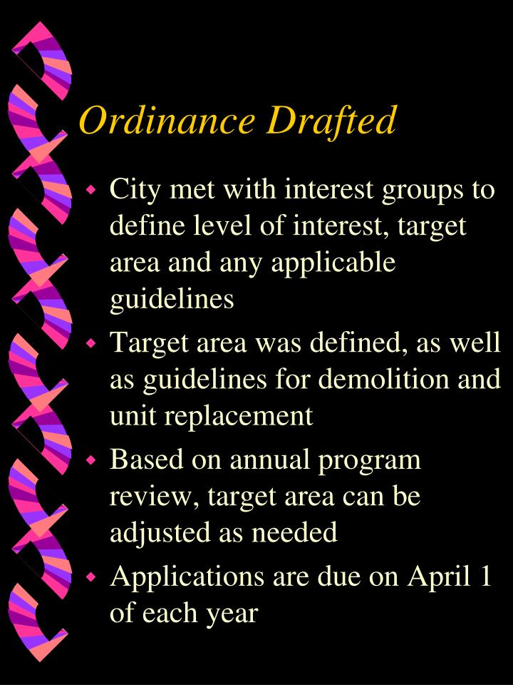 Ordinance Drafted