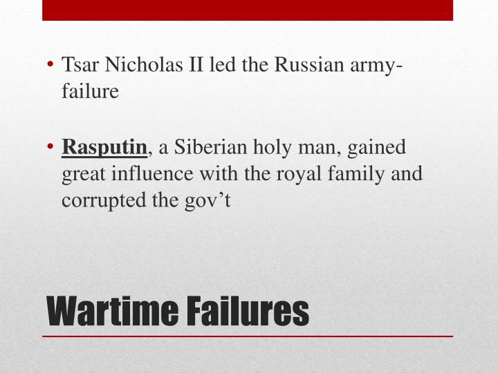 Tsar Nicholas II led the Russian army-