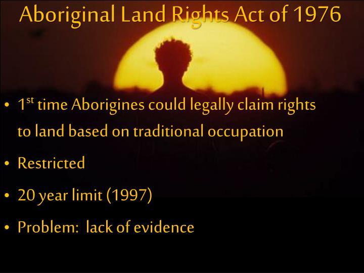 Aboriginal Land Rights Act of 1976