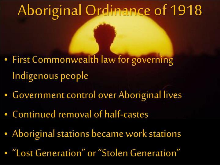 Aboriginal Ordinance of 1918