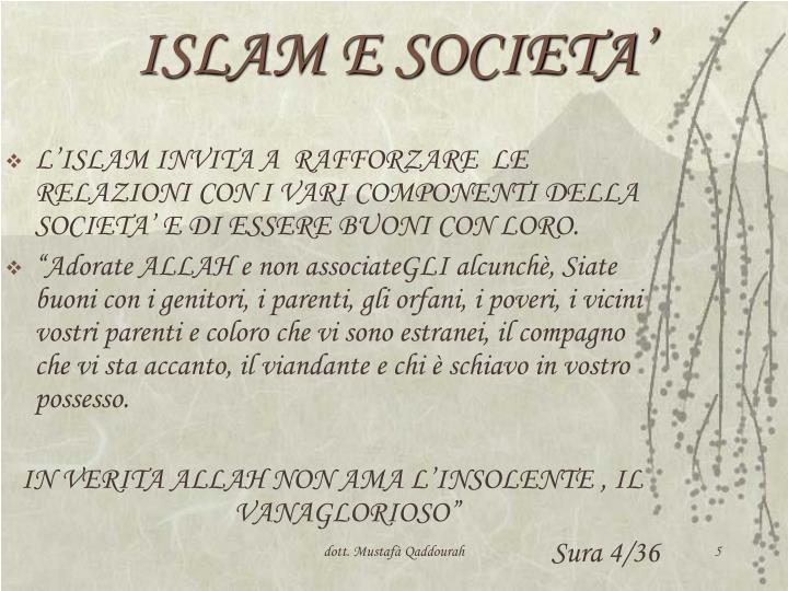 ISLAM E SOCIETA'
