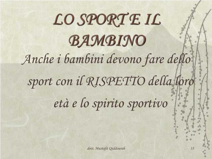 LO SPORT E IL BAMBINO