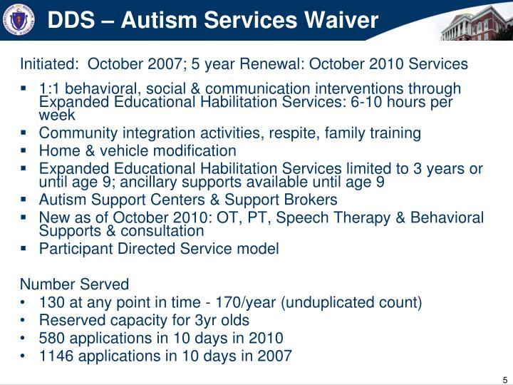 DDS – Autism Services Waiver