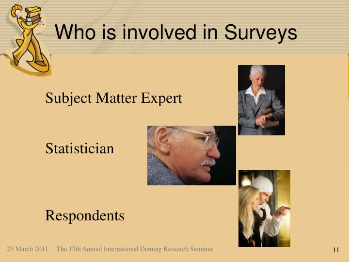 Who is involved in Surveys
