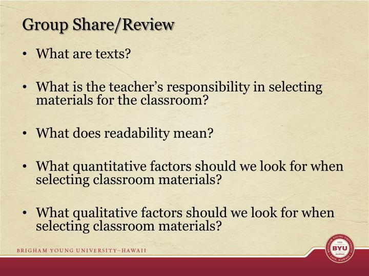 Group Share/Review