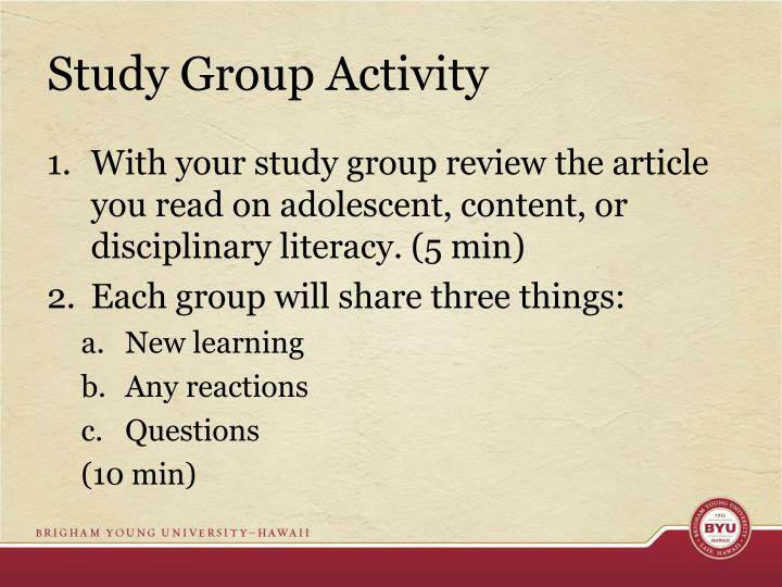 Study Group Activity