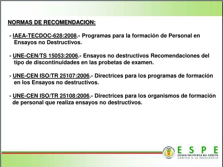 NORMAS DE RECOMENDACION: