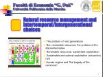 natural resource management and intertemporal intergenerational choices