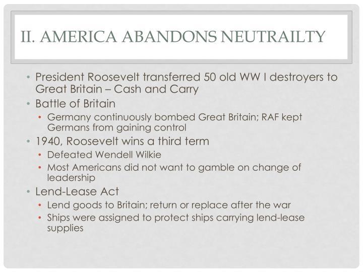 II. America Abandons
