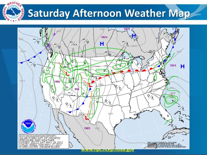 Saturday Afternoon Weather Map