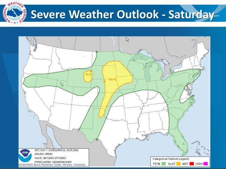 Severe Weather Outlook - Saturday