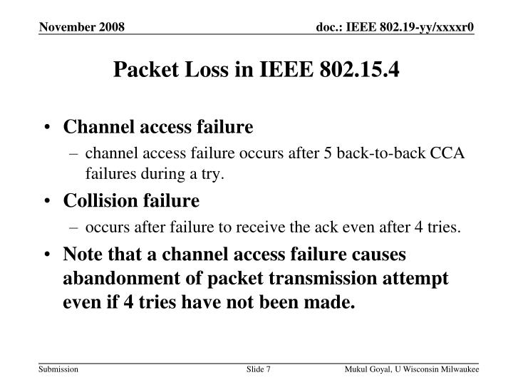 Packet Loss in IEEE 802.15.4