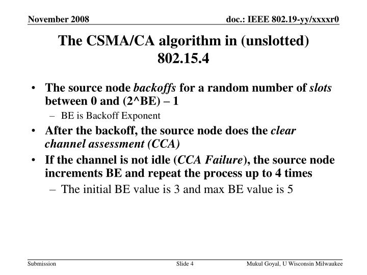 The CSMA/CA algorithm in (