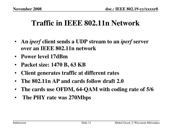 Traffic in IEEE 802.11n Network