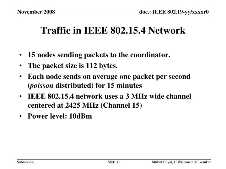 Traffic in IEEE 802.15.4 Network