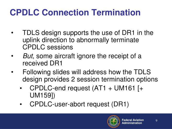 CPDLC Connection Termination
