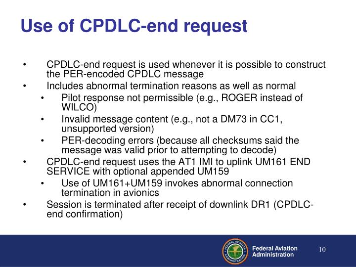 Use of CPDLC-end request