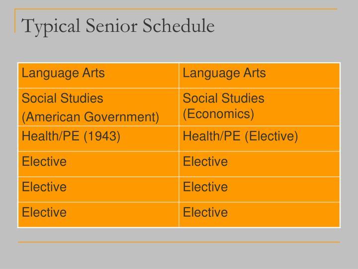 Typical Senior Schedule