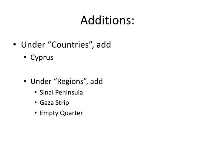 Additions: