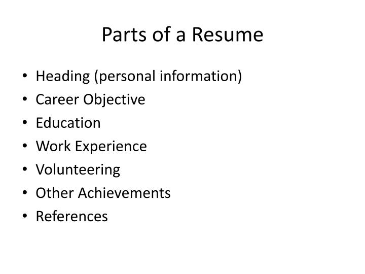 Parts of a Resume