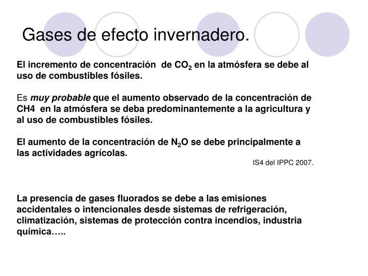 Gases de efecto invernadero.